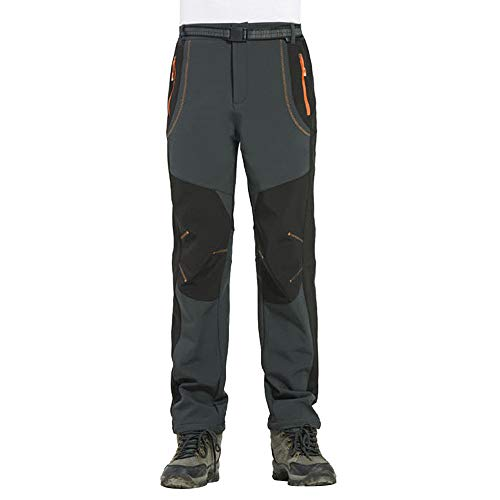 Zarupeng Heren warme softshell broek, winter waterdicht winddicht outdoor wandelbroek skibroek dikke sportbroek