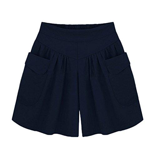 KUDICO Damen Sommer Shorts, Hohe Taille Kurze Ranger Hose Badeshorts Jagdhose Feste Freizeithose für den Außenbereich Anglerhose Strandhose Sporthosen mit Tasche(Marine, X-Large)