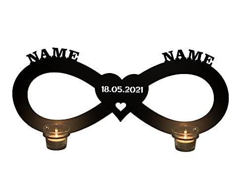 Teelichthalter - Unendlichkeitszeichen mit Namen Liebe Liebesbeweise zur Hochzeit Verlobung Jahrestag Hochzeitsgeschenke Wohnzimmer Schlafzimmer Freundin Partner Geschenk