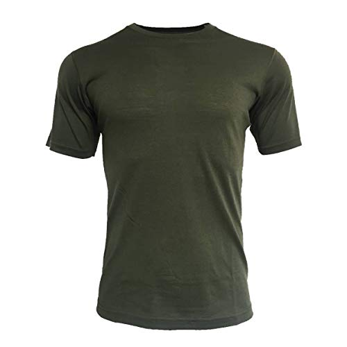 Sheep Run Men's Merino Wool Lightweight Hiking Running Workout Breathable Short Sleeve Crew Neck T Shirt (L, Olive)