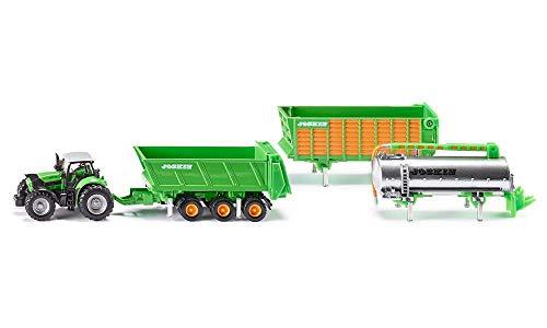 SIKU 1848, Tracteur DEUTZ-FAHR avec 3 Remorques Joskin, 1:87, Métal/plastique, Vert, 5 pièces, Avec Système interchangeable