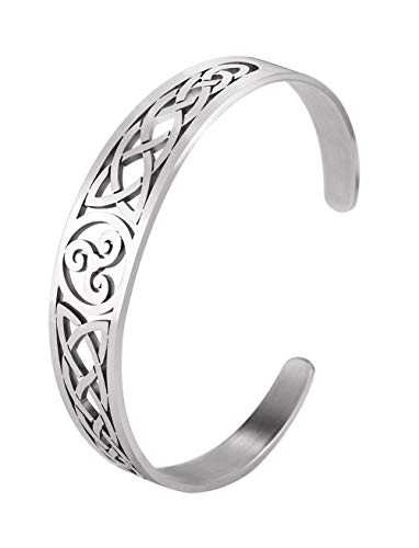 VASSAGO Nordic Viking Triskele Symbol Irish Trinity Celtic Knot Cuff Bracelet Stainless Steel Bangle Vintage Amulet Jewelry Gifts for Men Women Teens (Style 2)