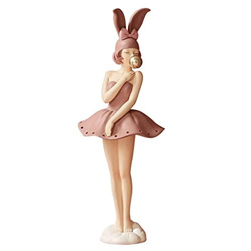 KaiWen Colgador De Joyas Soportes para Joyas Creative Girl Sculpture Hogar Pendiente Collar Anillo Almacenamiento Pantalla Soporte Decoración Decoración Decoración (Color : Pink, Size : 12 * 30cm)