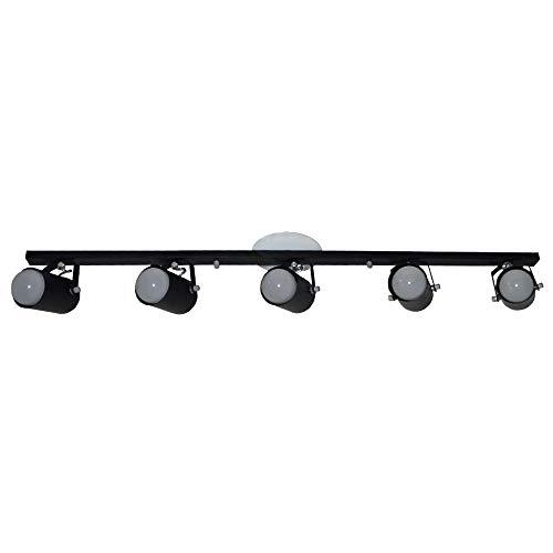 Trilho De 01 Metro Com 05 Spots - Para Lâmpadas E27 - Preto