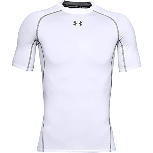 Under Armour Men's HeatGear Armour Short Sleeve Compression T-Shirt, White (100)/Graphite, Large