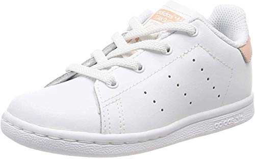 adidas Stan Smith El, Zapatillas Unisex bebé, Blanco (Footwear White/Footwear White/Glow Pink 0), 23.5 EU