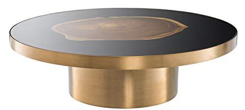 Casa Padrino Mesa de Centro de Lujo latón/Negro/marrón Ø 120 x H. 34 cm - Mesa de Sala de Estar Redonda de Acero Inoxidable con rodaja de árbol de Madera suar - Muebles de Lujo
