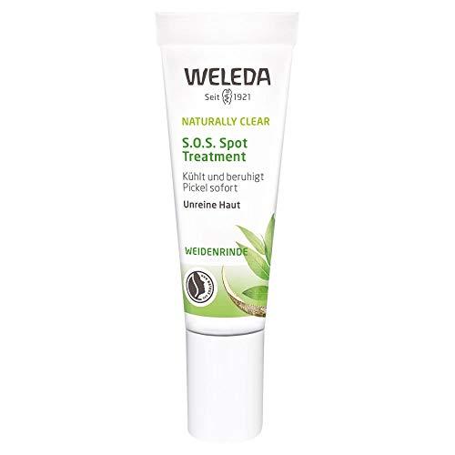 WELEDA Naturally Clear S.O.S Spot Treatment, Naturkosmetik zur Behandlung von Pickeln und Mitessern, Pickelcreme speziell für unreine Haut, kühlt und beruhigt sofort (1 x 10 ml)