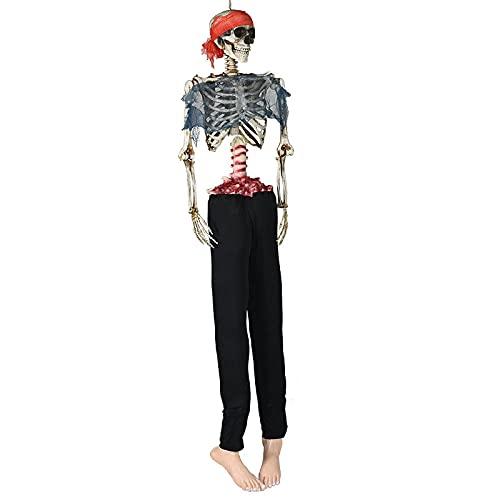 wlsdhjfo Decoración De Halloween De Miedo Decoración del Lugar De La Fiesta del Esqueleto Atrezzo Bar Ktv Casa Embrujada Scary Pirate Skeleton Man