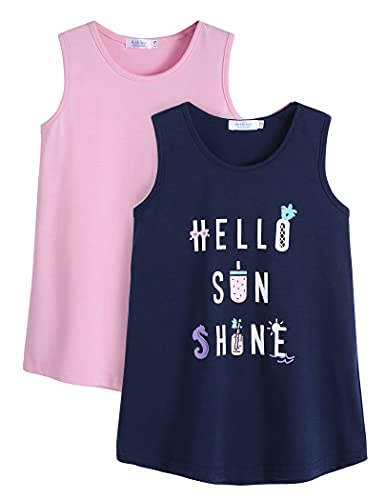Arshiner Confezione da 2 canottiera da bambina basic in cotone per bambini, estiva e senza maniche, scollo rotondo, morbida, taglie 110-150 rosa/blu marino 140 cm