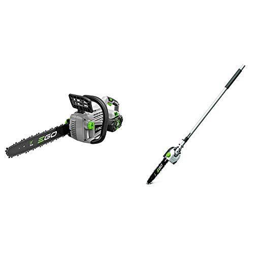 EGO Power+ CS1604 16-Inch 56-Volt Lithium-ion Cordless Chainsaw - 5.0Ah Battery and Charger Included & PSA1000 10-Inch Pole Saw Attachment for EGO 56-Volt Lithium-ion Power Head System