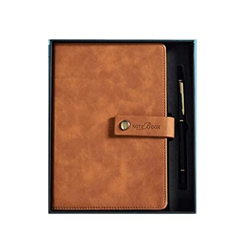 MLOZS Cuaderno clásico grueso con anillo de bolígrafo, cuaderno de escritura A5, con caja de regalo, con barra de marcadores, gran capacidad, 240 páginas (color marrón