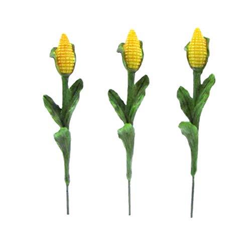 TG LLC Treasure Gurus 3pc Miniature Corn Stalks Fairy Garden Farm Ornament Set Mini Plant Dollhouse Decor Accessory