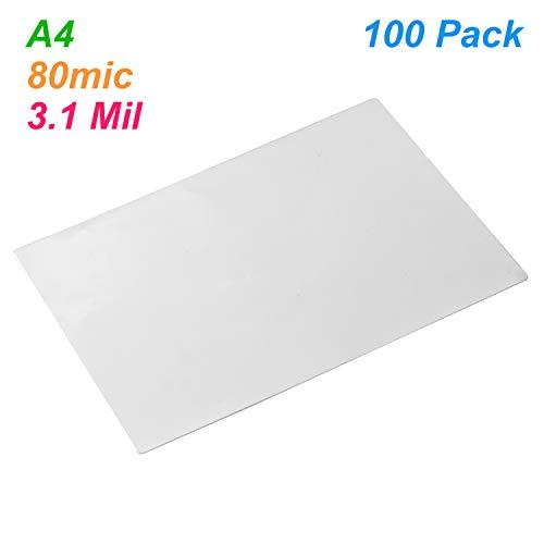 Leepesx Hoja de protección de bolsas de película laminada A4 3.1mil 100pc / set para papel fotográfico Documento laminado Home Office Supply