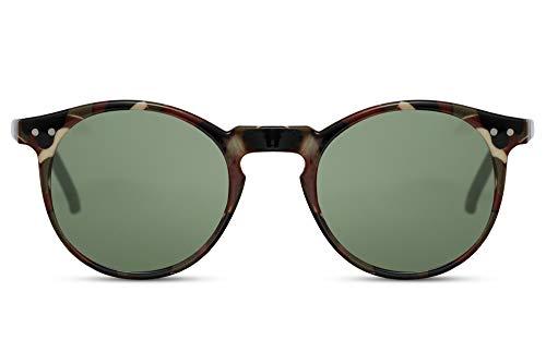 Cheapass Sunglasses Runder militärischer Tarnrahmen mit grünen Gläsern UV400-geschützte Vintage Mens Womens
