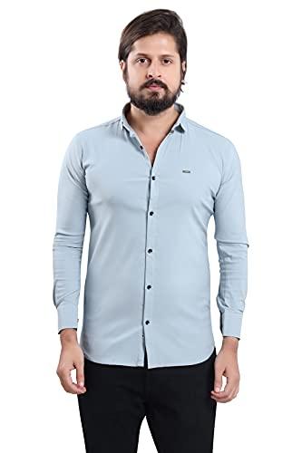 US BOND Slim Fit Cotton Lycra Regular Collar Stretchable Plain Shirt for Men- Sky Blue, Size :-XL (Brand Outlet)