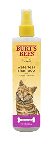 Burt's Bees for Cats Natural Waterless Shampoo with Apple & Honey   Cat Waterless Shampoo Spray, 10 oz