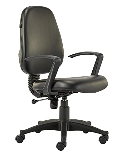 HOF F-502 Series Computer Student Study Chair, Cushion Mid Back Base Office Executive Chair for Home/Work, Leatherette Seat Height Adjustable & Comfortable Fixed Armrest - Black