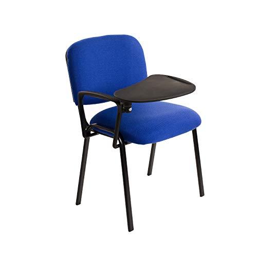 Notek Srl 6 sedie Impilabili in Tessuto con Ribaltina scrittoio tavoletta per Studio Sala conferenza convegni (Blu)