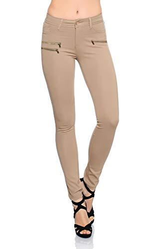 Freyday Modische Bequeme Damen Jeggings Leggings Hüfthose Stretch Slimfit (Beige, M / 38)