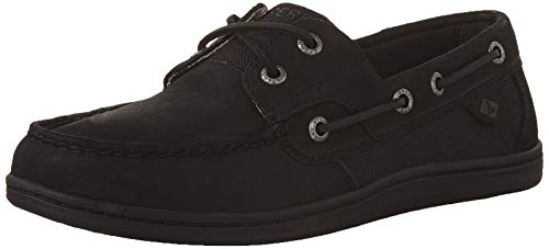 Sperry womens Koifish Boat Shoe, Black/Black, 8.5 US