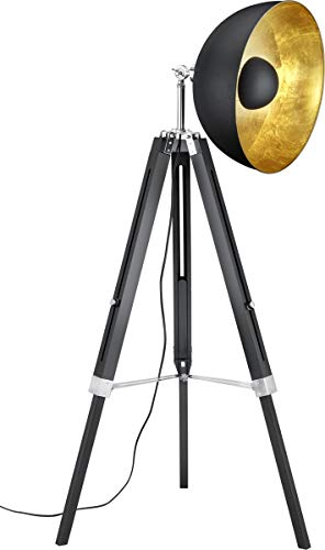Trio Leuchten Stehleuchte, Metall, E27, Schwarz Matt/Goldfarbig, 80 x 80 x 160 cm