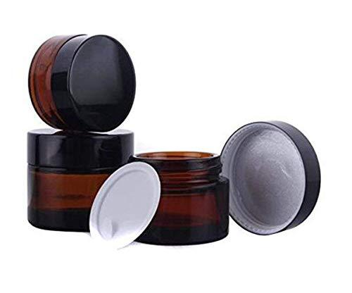 Lot de 3 flacons vides en Verre ambré avec couvercles Noirs et Doublure intérieure Blanche pour Maquillage, crème, Lotion, baume à lèvres, poudres, pommades, Ambre (Orange) - JJY25330N