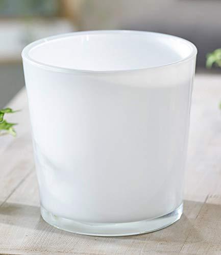 Hakbijl Glas-Übertopf ø 19 cm weiß, 1 Stück