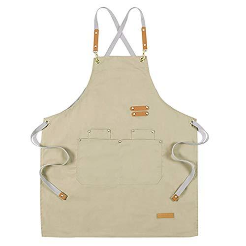 Tongliang Delantal de Cocina Ajustable Delantal de Trabajo con Bolsillos para Hornear Jardinería Restaurante Barbacoa para Hombres y Mujeres Caqui