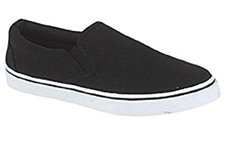 LD Outlet Unisex Mens Womens Plimsoles Plimsolls Cnvas Pumps Formatori Espadrilles Deck Shoes Ragazzi Ragazze Adulto Taglia UK, (Nero e bianco), 44 EU