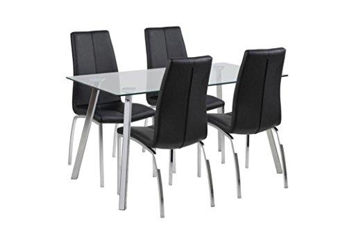 Elegante Actona Merk Deens Design Glas en Chroom Tafel met 4 Imitatie Lederen Stoelen in Zwart en Chroom, Grote waarde bundel ook apart verkrijgbaar Pair of Asama Chairs Zwart