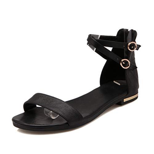 Frauen Metallic Doppel Schnalle Flache Sandalen Open TPE Back Zipper Party Schuhe