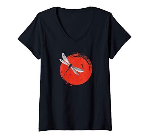 Donna Zen Circle Japanese Dragonfly Sun Yoga Maglietta con Collo a V
