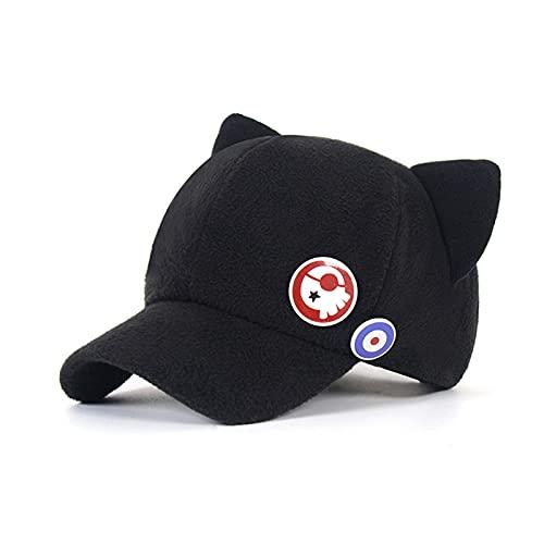 LTHTX Anime EVA Asuka Cat Ear Polar Fleece Hat, Cosplay Hat Gorra de béisbol Unisex Lindo Kawaii Nice Black Cap (Algodón negro, S (54-56cm)