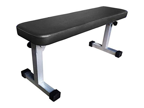 Foldable Flat Travel Weight Bench for Multipurpose Fitness Exercise Gym Workout, Heavy Duty Weight Flat Bench for Home & Professional Gym (Legs Foldable) Fold to 6-in High (Silver/Black, 36 INCH Long)