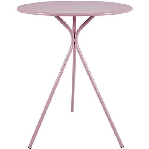 Bijzettafel eenvoudige kleine ronde tafel, driehoekige tafelpoten, hoge temperatuur bakafwerking, geschikt voor thuiskantoor, koffie, shop, roze
