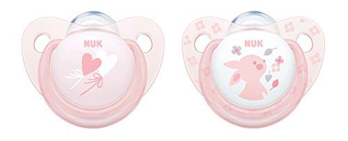 NUK 10175175 Baby Rose Trendline Silikon-Schnuller, kiefergerechte Form, 0-6m Monate, 2 Stück, rosa