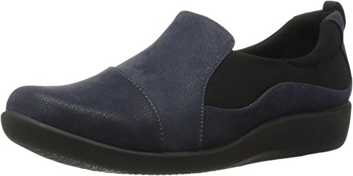 Clarks Women's CloudSteppers Sillian Paz Slip-On Loafer, Navy Synthetic Nubuck, 9 M US