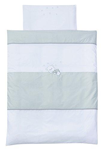 Easy Baby 810–30 Parure de lit avec broderie de qualité motif Vichy Bear, 100/135 + 40/60, Grey