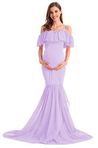 HIHCBF Women Mermaid Chiffon Maternity Gown Off Shoulder Ruffle Spaghetti Straps Photo Shoot Wedding Baby Shower Dress Lilac S