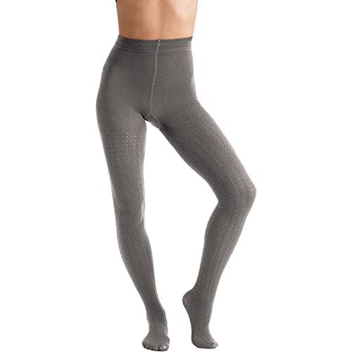 Couture Damen Strumpfhose mit modischem Zopfmuster (M) (Grau)