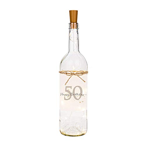 Manufaktur Liebevoll Flaschenlicht Happy Birthday 50 - Persönliches Geschenk zum Geburtstag - Flasche mit stimmungsvoller LED Beleuchtung