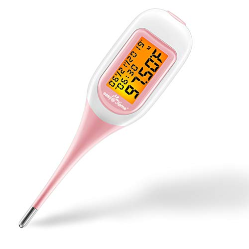 Easy@Home Smart Basal Thermometer, Large Screen and Backlit, FSA Eligible, Period Tracker with Premom(iOS & Android) - Auto BBT Sync, Charting, Coverline & Accurate Fertility Prediction #EBT-300