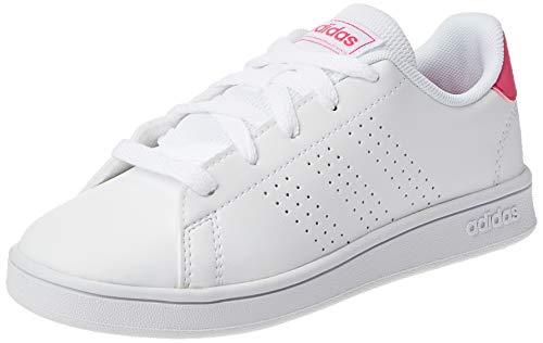 adidas Advantage K Sneaker, Cloud White/Real Pink/Cloud White, 35 EU