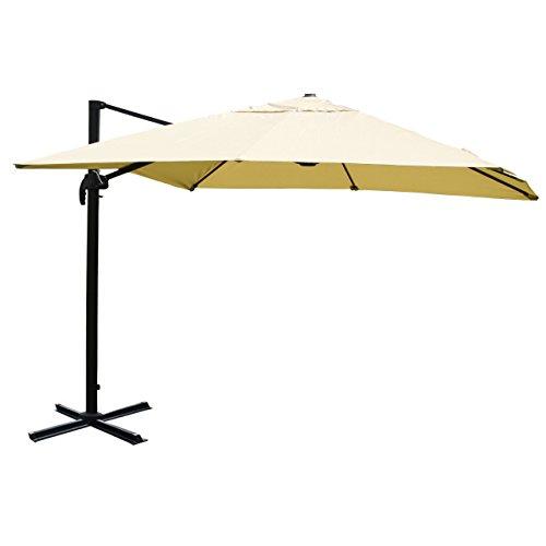 Mendler Gastronomie-Ampelschirm HWC-A96, Sonnenschirm 3x3m (Ø4,24m) Polyester Alu/Stahl 23kg - Creme ohne Ständer