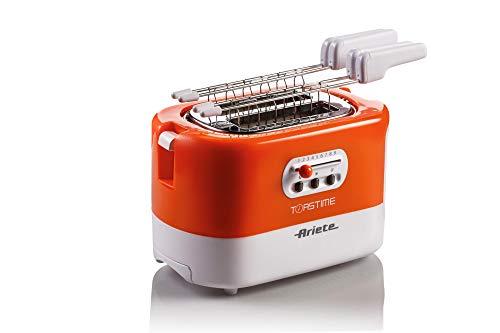 Ariete 159 Toastime, Tostapane 2 fette con pinze, Cassetto raccogli briciole, Funzione scongelamento e riscaldamento, 9 livelli di doratura, Scalda brioche, 700 W, Bianco Arancio