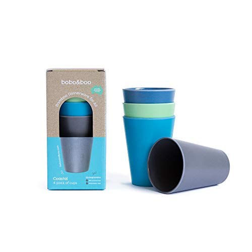 BOBO&BOO - Big Kid Sized (16oz) Eco Friendly Bamboo Cups for Adults & Kids | 4 Set | Durable Bamboo Dinnerware Set for Home, Picnic & Party Time – BPA Free – Dishwasher Safe - COASTAL
