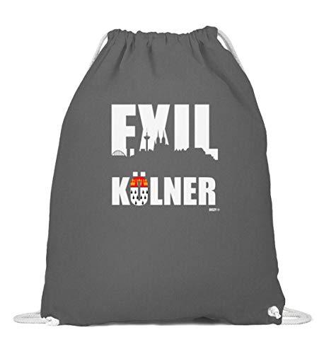 Exilkölner Design mit Skyline und Stadtwappen für Kölner im Exil - Baumwoll Gymsac -37cm-46cm-Grafit Grau