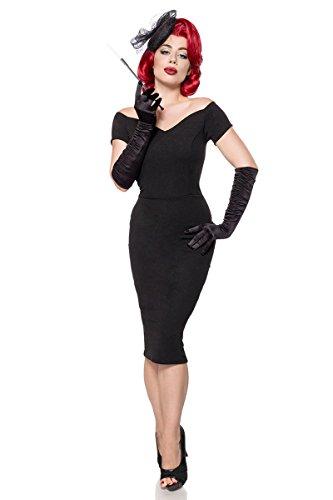 Schwarz Carmen Gehschlitz Abendkleid Etuikleid Retro Cocktail Party Kleid 34-46