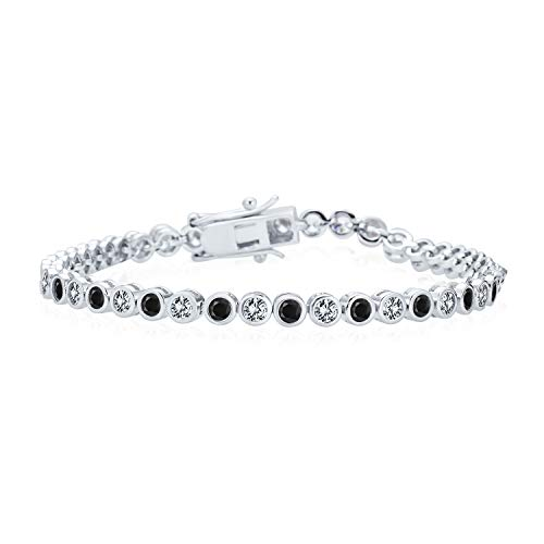 Bling Jewelry Formal Holiday Party Bridal 10CT Black White Alternating Cubic Zirconia Bubble Circle Bezel Solitaire AAA CZ Tennis Bracelet for Women .925 Sterling Silver 7 Inch